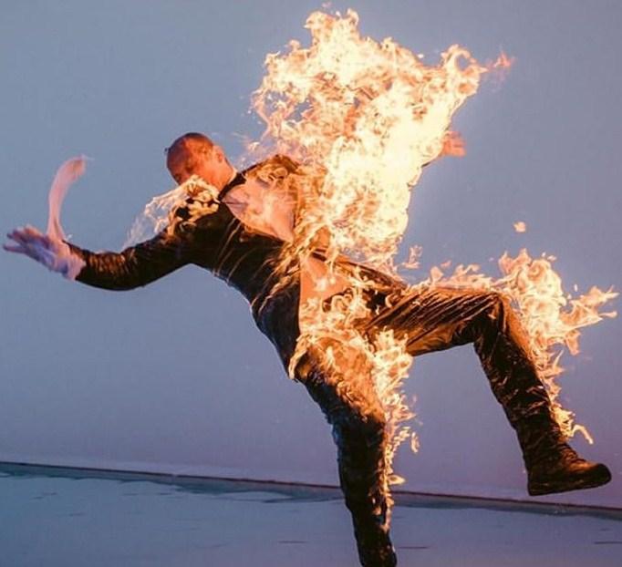 Feuerstunt, Stuntman, Action, Film, Video,